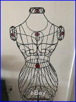 Woman 60 Blk Metal Wire Mannequin Stand Clothes / Jewelry Vintage Decor Display