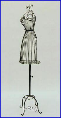 Women's Black Wire Metal Dress Form Mannequin with Adjustable Stand
