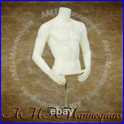 YMT2-BW, Male realistic half body mannequin+metal stand, white display dress form